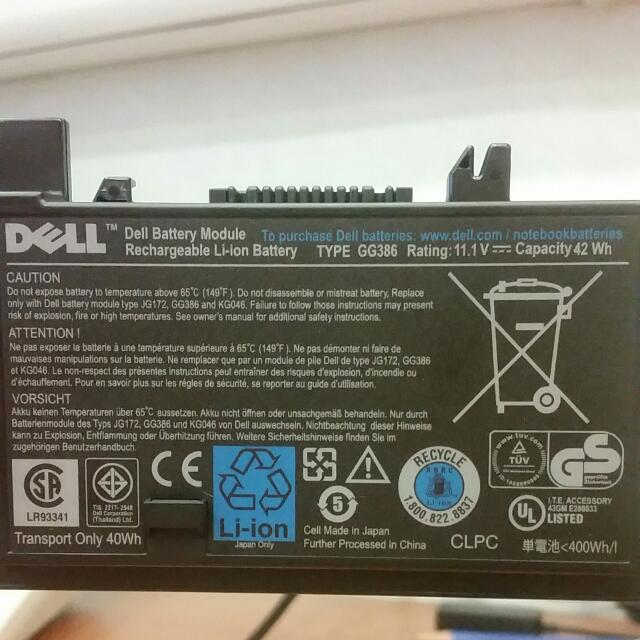 gg386 dell battery modelule