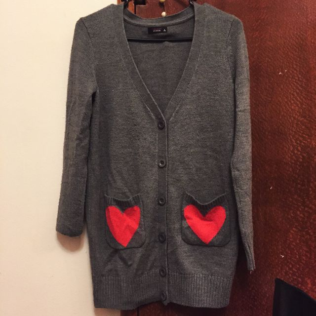 Grey Cardigan with Love Heart Pockets