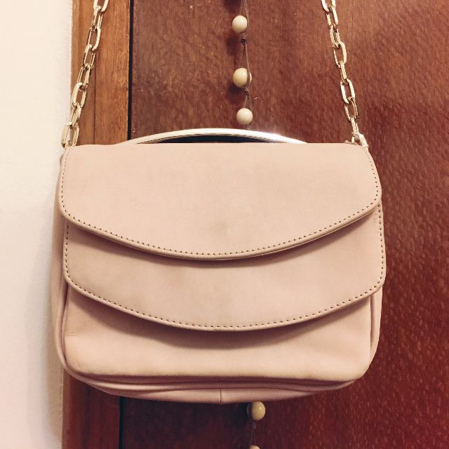 H&M Real Leather Baby Pink Bag