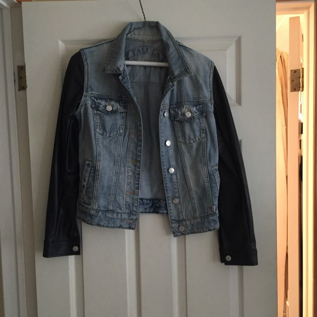 Jean Jacket With Black Leather Arms