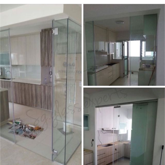 Kitchen Tempered Glass Partition / Swing Door / Sliding