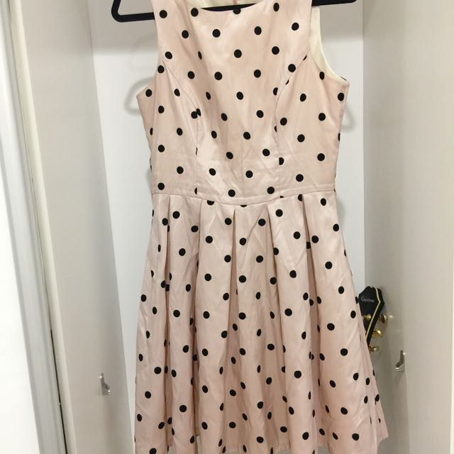 Light Pink black polkadot Dress  Size 10-12