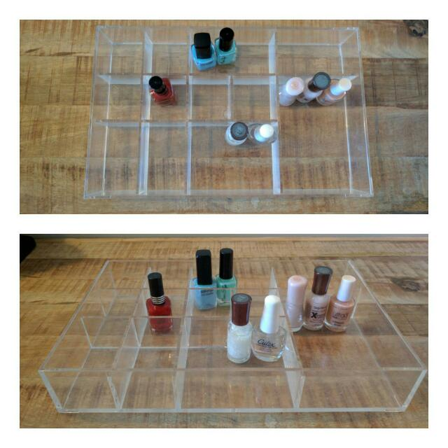 Make Up Compartmental Container w Nail Polishes