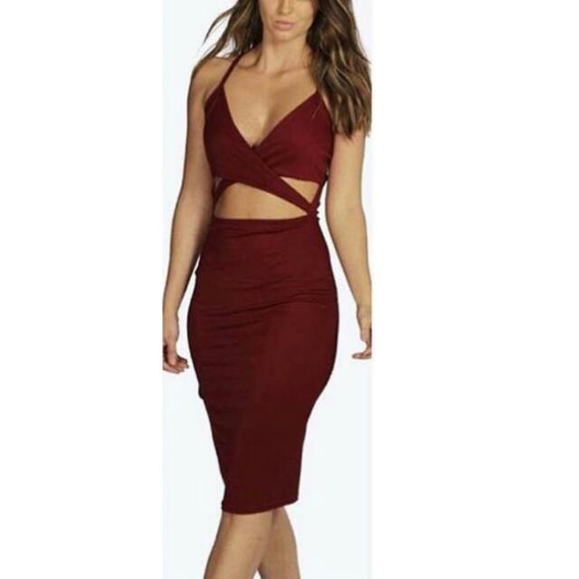 Maroon Dress Boohoo