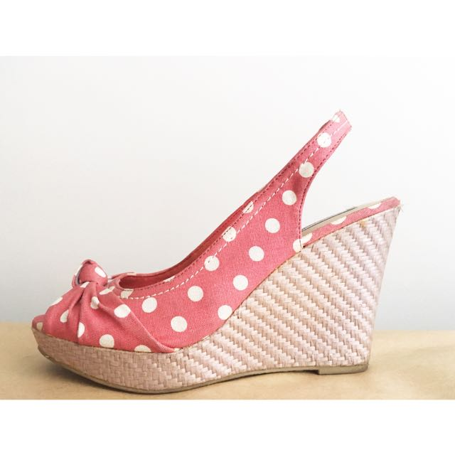 Montego Bay Club Pier Knot Open-Toe Wedges in Pink Polka-Dots, Sz 8