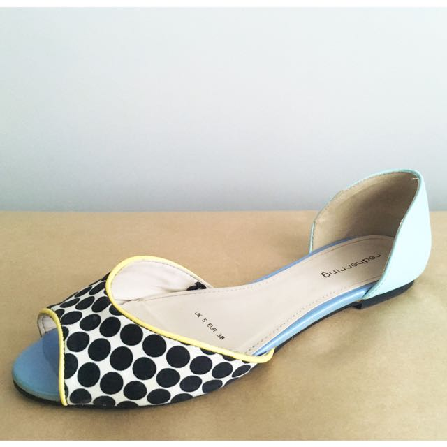 Red Herring Peep-Toe Flat Sandals in Polka Dot and Mint, Sz EUR 38