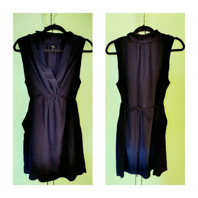Tokito City Navy Satin Dress - w Pockets - Size 12
