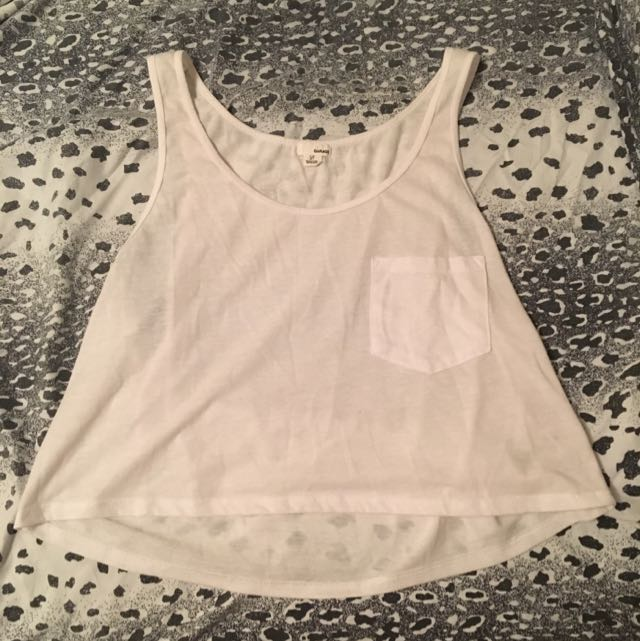 White Cropped Tank Top From Garage