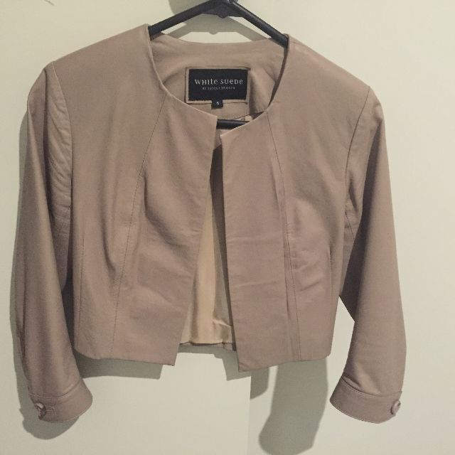 White Suede Leather Jacket 6