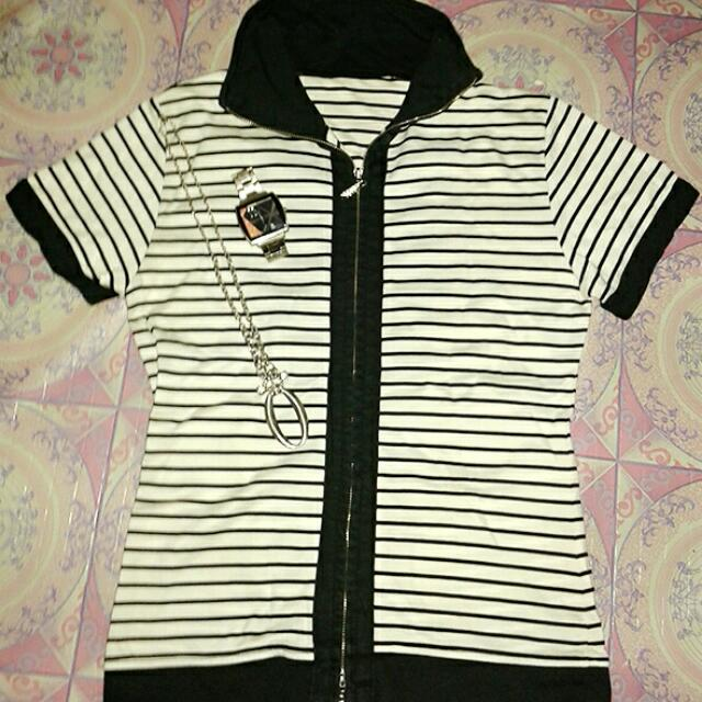 Zipper Striped Shirt