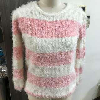👉🏻粉白相間條紋毛絨毛衣