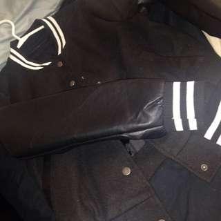 Black And White Leather Sleeve Jacket
