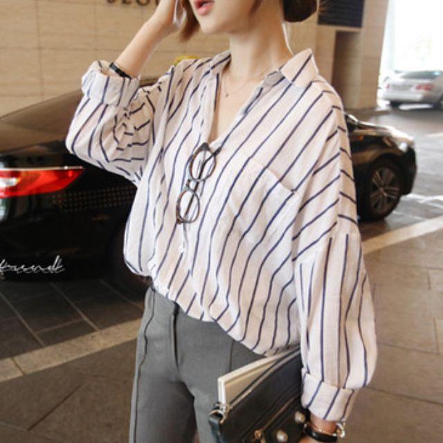 0729Q9571韓國新品 中大版型休閒條紋襯衫