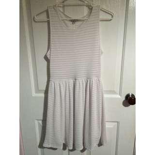 White Ribbed Skater Dress