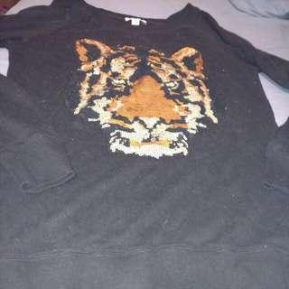 Garage Sequin Tiger Pullover