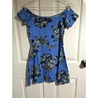 Floral Sky Blue Skater Dress