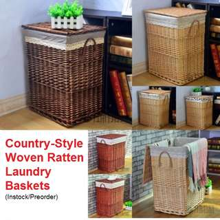 *** [PRE-ORDER]  Country-style Woven Laundry Basket