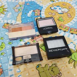 Revlon Loreal Maybelline Eyeshadow, Wardah Blush And Contour