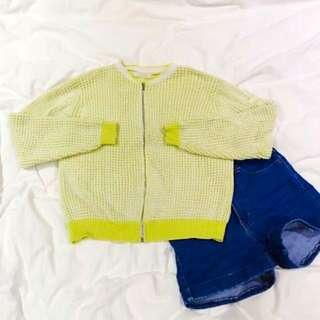 🇰🇷正韓製 質感黃白格子針織外套