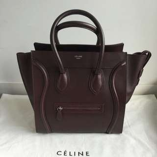 Celine Mini Luggage Burgundy Excellent Condition