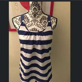 Nautical Stripe Top Blue And White