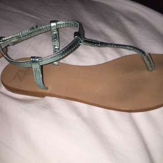 ZU turquoise strappy flats