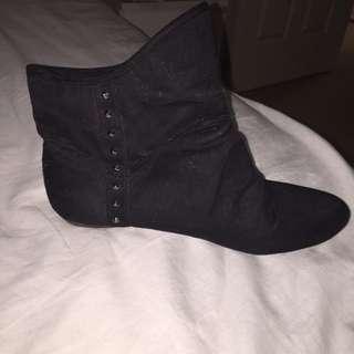 black studded flat boots
