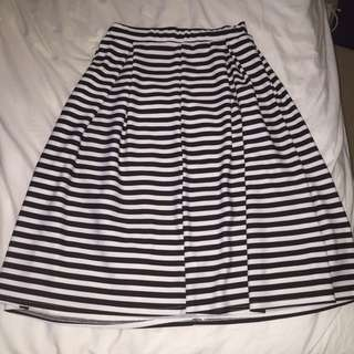 stripey midi skirt
