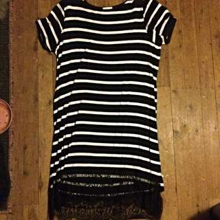 Lily Jones Striped And Lace Dress Size 14