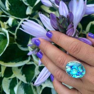 Handmade Silver Abalone Ring Size 7