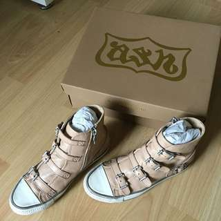 Ash Virgin Buckle Trainers Clay Leather Size 35