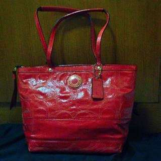 Preloved Coach Patent Leather Tote Bag
