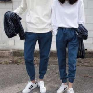 韓國 BF風束口牛仔褲 單寧褲 哈倫褲