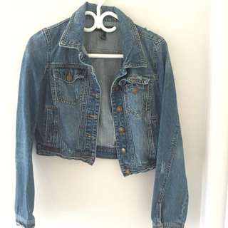 Forever 21 Cropped Distressed Jean Jacket