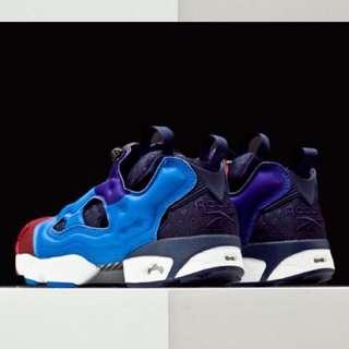 正品Reebok Insta Pump Fury ASYM 彩色拼接 充氣慢跑鞋 藍拼色V67791/V67792 藍紅
