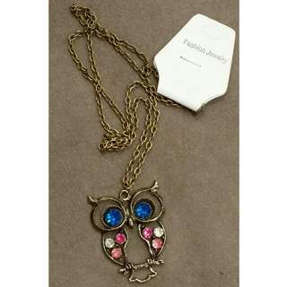 Long Chain Owl Pendant