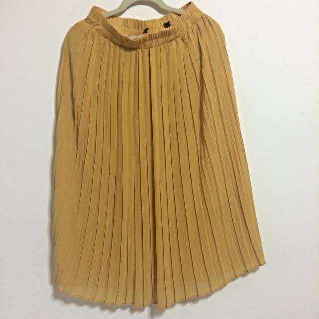 (預定)【古著】黃色雪紡中長裙