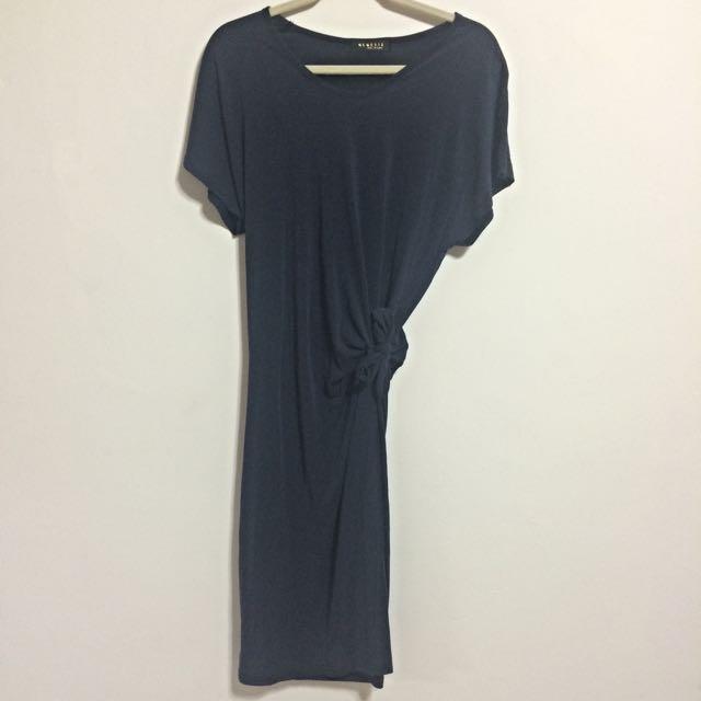 (預定)【正韓】深藍色氣質綁帶短袖洋裝