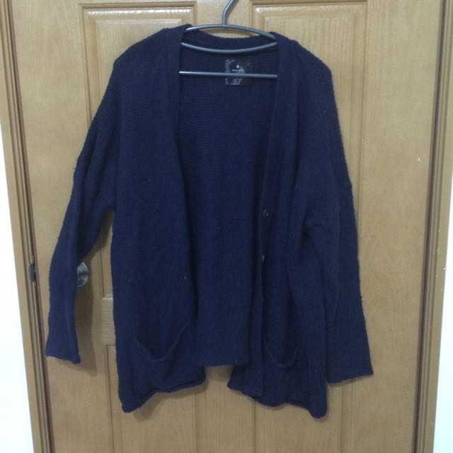 藍色粗針織外套