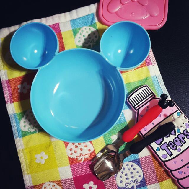 【現貨】天藍色米奇兒童餐碗 送餐具