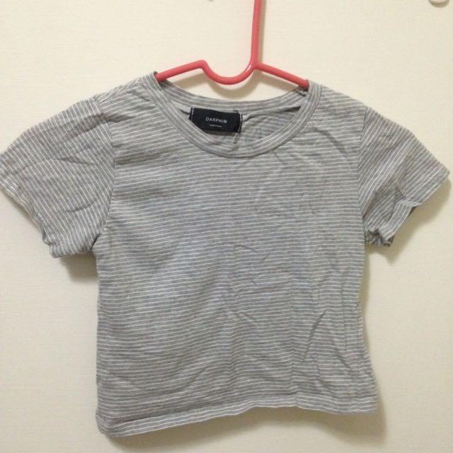 韓國 灰白條紋短版上衣
