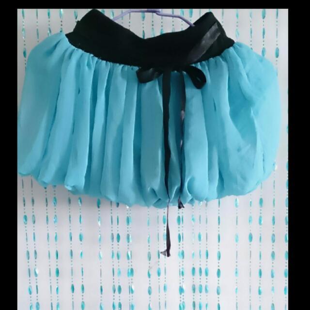藍 雪紡 澎裙 燈籠裙