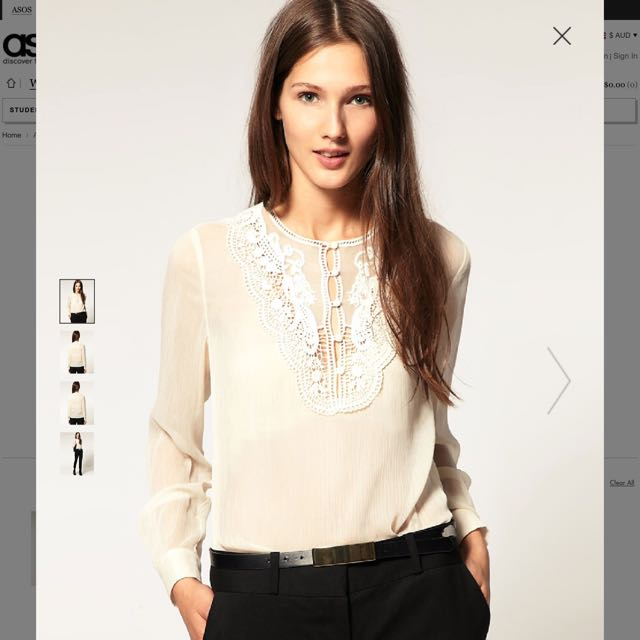 Asos Lace Crochet Top Size 8