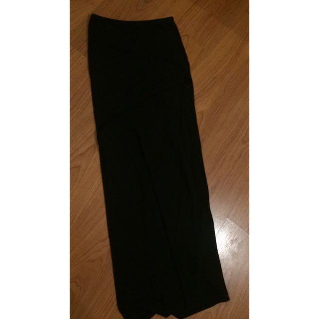 Black Maxi Slit Skirt
