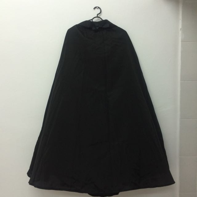 Black Polyester Maxi Skirt (OBB)