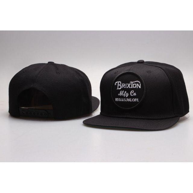 3d96e48edc Brixton Mfg Co Round Emblem Black Baseball Straight Brim Cap Hat ...