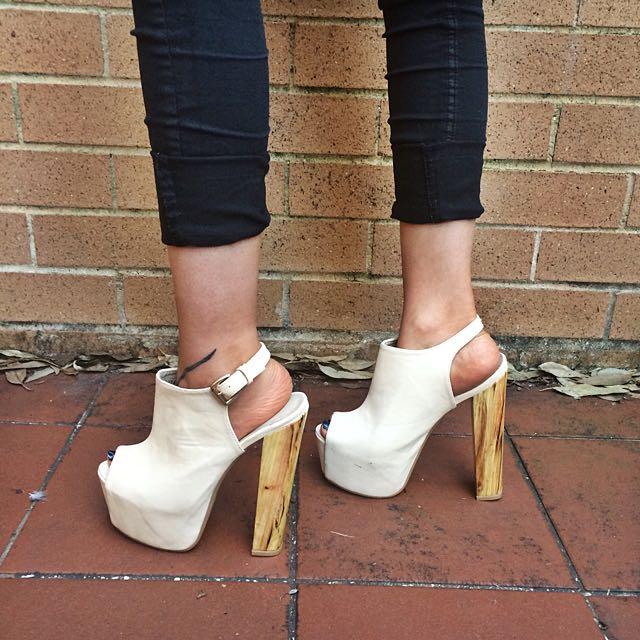 Creamy Wooden Heels (RRP: $60)