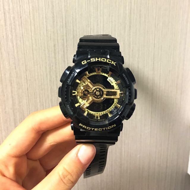 G Shock Black And Gold Watch