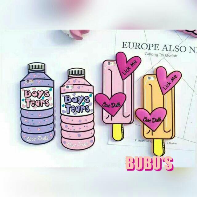 【現貨:紫I6】🍦造型飲料寶特瓶粉紅礦泉水/愛心冰棒iphone5/iphone6矽膠手機殼
