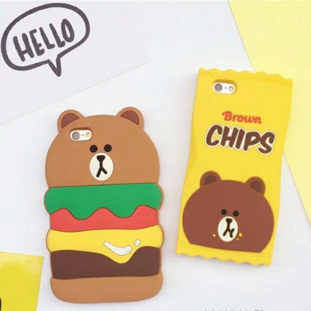 【現貨:I6漢堡】🐻熊大漢堡/熊大洋芋片/兔兔洋芋片/莎莉洋芋片iphone6矽膠手機殼
